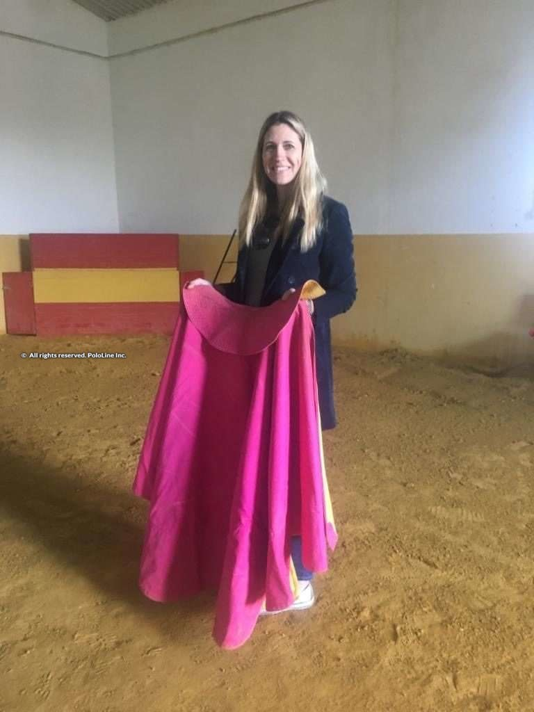 Aurora Eastwood with bullfighting cape
